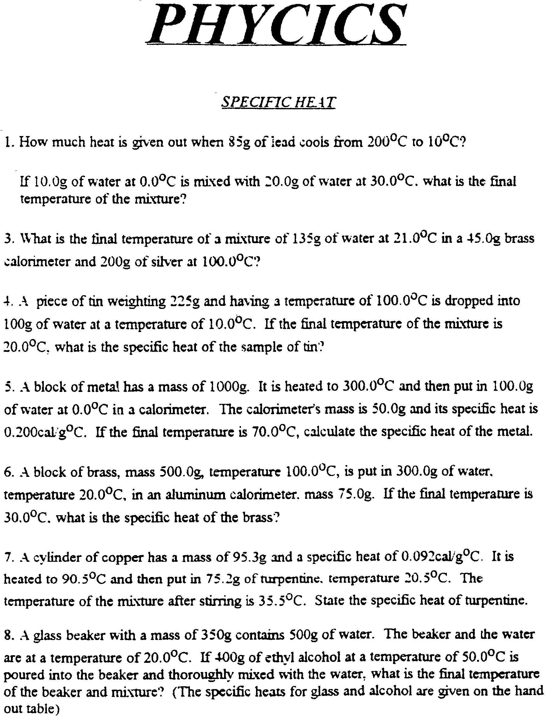 Worksheet Specific Heat Worksheet With Answers Worksheet Fun Worksheet Study Site