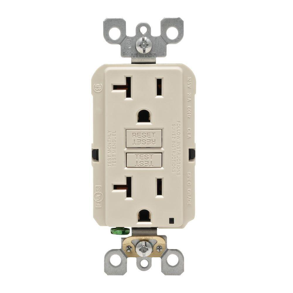 hight resolution of details about leviton 20 amp self test smartlockpro slim duplex gfci outlet light almond