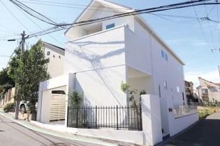 純白の建物を囲む純白の壁と門柱、鋳物フェンスが飾り、玄関まで伸びる乱石で仕上げた曲線の階段がお城のような優雅さを醸す