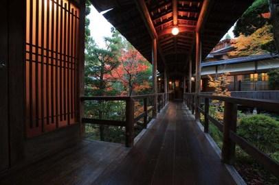 各棟は渡り廊下で繋がれている。四季折々に変化してゆく庭を、この渡り廊下から眺めるのは格別