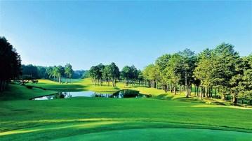 12番グリーンより見る朝もやのショートホール。うねりのある2段グリーンは、ピン位置に限らず挑戦するゴルファーを悩ませ、美しくも手に汗握るショットの快感を味わえる。