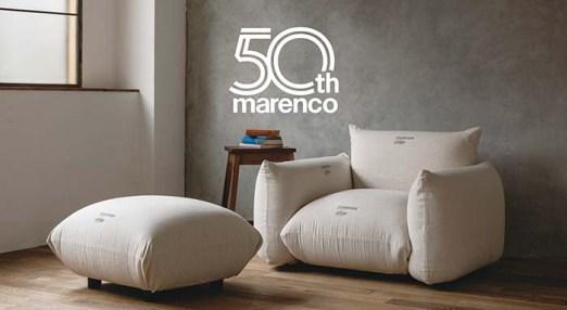 発売50周年を迎えたロングセラーソファ「MARENCO」。 クッションを重ねたようなシンプルなデザインは、イタリアの巨匠マリオ・マレンコが数秒のスケッチから生み出したもの。あたたかく無駄のない個性的なフォルムが特徴。 カバーを替え、メンテナンスをしながら世代を越えて愛され続けている