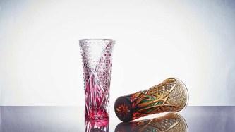 江戸切子 菊繋ぎに籠目紋 クリスタル花瓶 (金赤/琥珀ルリ) 各110,000円
