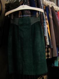 gorgeous green leather skirt
