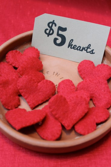 bowl of hearts at Brooch Boyfriends