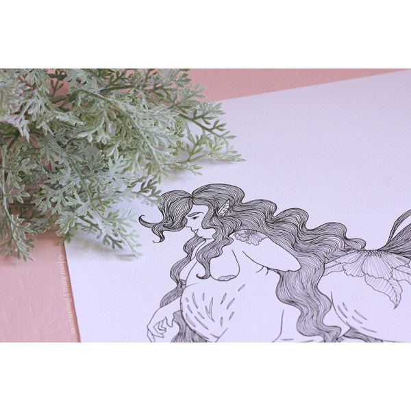 A photo of a piece by Jessi Eoin; the art is an inked illustration showing a fat centaur with long, flowing hair, pointy pierced ears peeking through their hair, and a left arm amputation at the elbow. They have a large number of stretch marks across their wide belly, underbelly, and hind leg, along with a large floral tattoo on their hindquarters. Also visible are their breasts and a smaller floral tattoo on their left shoulder. The photo is stylized with a pink background and with a dusty miller plant to the top left of the piece.