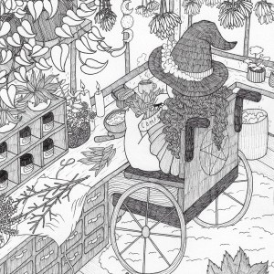 A photo of a black and white illustration of a wheelchair-using witch at their cozy, plant-filled work space, trimming some plants for grinding with a mortar and pestle in front of them. There are tons of details in the piece: living plants both potted and hanging, dried plants both hanging from the ceiling and lying on tissue paper, an organizer filled with sealed and labeled jars, lit candles, ribbon pooling onto the floor where a happy cat plays with it, envelopes and letters on stationery with stickers nearby, a full trash bin under the desk by the window, a triple moon goddess symbol hanging from a window panel, a pentacle on the back of the witch's wheelchair, flowers on the witch's hat, a fluffy carpet on top of hardwood floor, and a large section of small drawers under the jars.