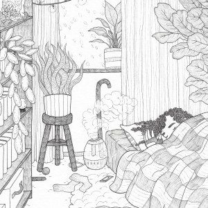 "A photo of a black and white illustration of a person with long, kinky hair lying in bed with a wrist brace on, blanket pulled up to their face, exposing just their hand resting on their pillow and their eyes, fast asleep. To their left is an air humidifier going and billowing soft clouds of water vapor into the air that floats toward them slightly. On the floor is a thin carpet, topped with a very fluffy rug under their bed; spilled over the rug and carpet are a pair of used socks, a smartphone that looks like it fell out of their hand while sleeping, a sweater with a spoon on it, and a pair of shorts crumpled at the foot of the bed. There's a tall bookshelf across from the bed, where lie several books on multiple shelves, a plant whose leaves cascade down, some storage boxes, and a large amethyst geode that serves as a planter for a succulent. Behind the shelves is a potted snake plant resting on a three-legged stool with a lacrosse ball at the base of its legs. Leaning against the wall and under the heavily curtained window, there is a cane, and above that, partially hidden by the curtains, is another potted plant, sitting in the window sill where we can see a flurry of rain or snow out the window. A single line of stringed twinkle lights is hung in a romantic, casual way, and they're glowing softly. Finally, tucked behind the bed on the right, is a large fiddle leaf fig tree, peeking out from the edges of the illustration and reaching toward the window. Everything in the piece is partially hidden by something else in the piece, a reference to the illustration's theme of ""Invisible Illness."""