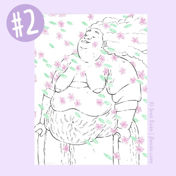 A photo of the second Mini Original against a light purple background with a label in the top left corner showing that it's Mini Original number two. The piece is a minimalist black and white drawing of a nude, fat Person of Color standing in a flurry of tiny, colorful flowers that pool in various spots on the person's body. This one has pink flowers and green leaves, and the person is standing facing the audience, using two crutches, with their head tilted back slightly, looking peaceful as they close their eyes in the face of the flowers. Their long, curly hair is flowing straight back behind them in the wind, and their body has lots of stretch marks, rolls, acne, and cellulite.