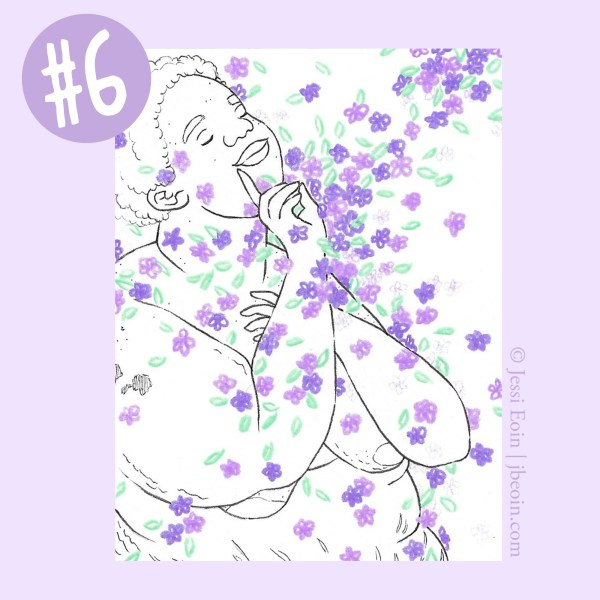 A photo of the sixth Mini Original against a light purple background with a label in the top left corner showing that it's Mini Original number six. The piece is a minimalist black and white drawing of a nude, fat, Black person with short, natural hair standing in a flurry of tiny, colorful flowers that pool in various spots on the person's body. This one has purple and light purple flowers with green leaves, and the person is faced slightly toward the viewer, with their head tilted up high and right hand up to the corner of their lips in the ASL sign for the letter D, indicating deafness; their other hand is placed lightly on their chest. Their eyes are closed, and they look peaceful, smiling slightly. Their body has lots of cellulite, acne, stretch marks, and rolls on them, as well as a birthmark on their upper right arm.