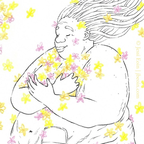 A close up photo of a minimalist mini original. This piece shows a Black, fat, nude person with long locs floating up behind them in the wind as they smile sweetly with their eyes closed in a peaceful looking way, hugging close to their chest an armful of pink, orange, and yellow flowers that are drifting toward and around them in the air. Just visible is also an ostomy bag on their belly where there are also lots of stretch marks and cellulite.