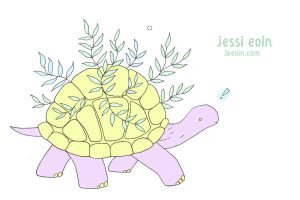 A pastel, colorful, pink and yellow tortoise with lots of green, viney leaves sprouting from its shell.