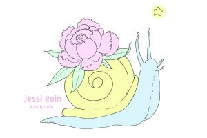 A pastel, colorful, blue and yellow snail wearing a pink peony and green leaves on its shell.