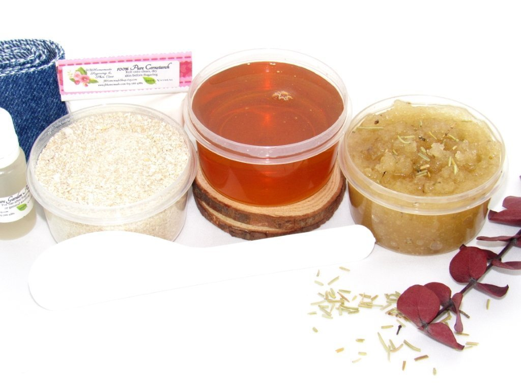 Sugaring Wax Hair Removal Starter Kit with Oatmeal Scrub and Eucalyptus  Rosemary Sugar Scrub - thinner hair