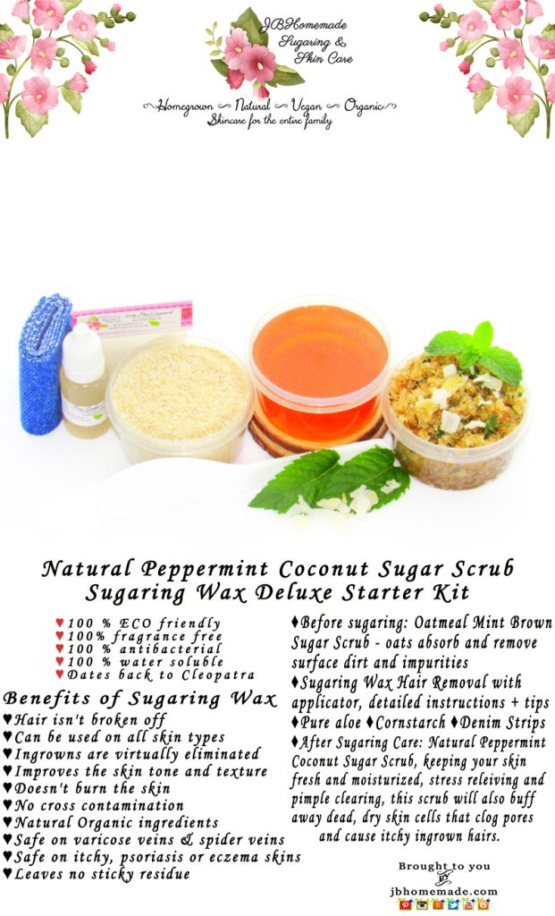 Sugaring Wax Hair Removal Starter Kit - Oatmeal Scrub - Peppermint Coconut  Sugar Scrub - thinner hair | JBHomemade