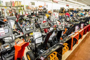 snowblowers on display