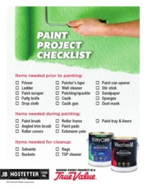 Diy Home Painting Project Checklist  Jb Hostetter  Sons