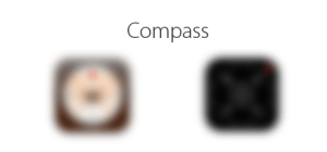 Blurred compass icons.