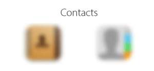 Blurred Contacts icons.