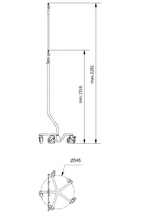 Wheelbase, curved legs, IV-stands. JB 168-01-00