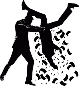 Two dark silhouettes; one person holding the other one upside down while money is falling out of his/her pockets