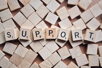 "Wooden blocks spelling the word ""support"""
