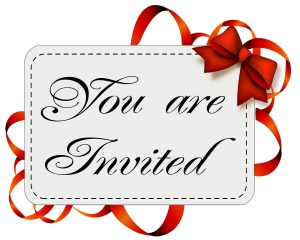 """A paper card with a red ribbon and the sentence """"You are invited"""""""
