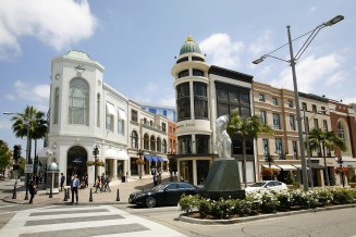 A shopping district in Beverly Hills.