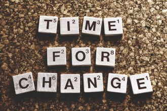 """Small blocks with letters spelling """"time for change"""""""