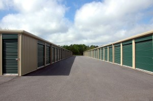 storage warehouse facilities with green doors