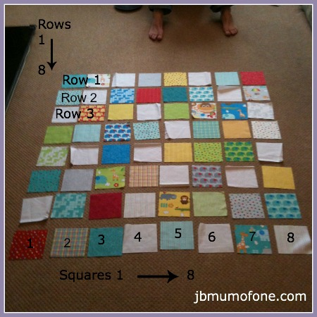 Numbering quilt rows and squares