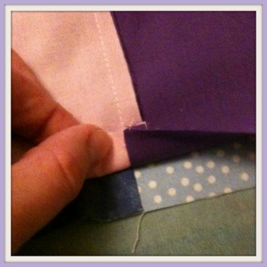 Sewing together rows