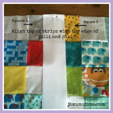 Align strips with top of quilt