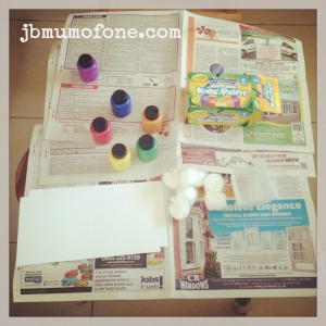 toddler craft: painting with cotton wool balls