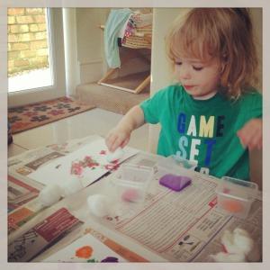 crafty toddler fun cotton wool painting