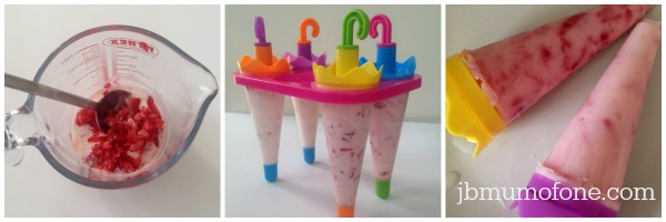 Strawberry yoghurt ice lollies