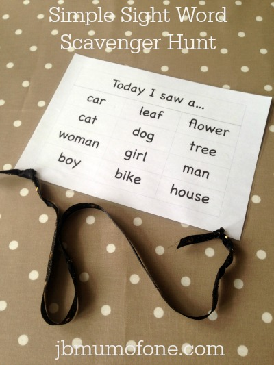 Simple Sight Word Scavenger Hunt