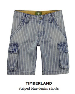 Timberland Striped Blue Denim Shorts