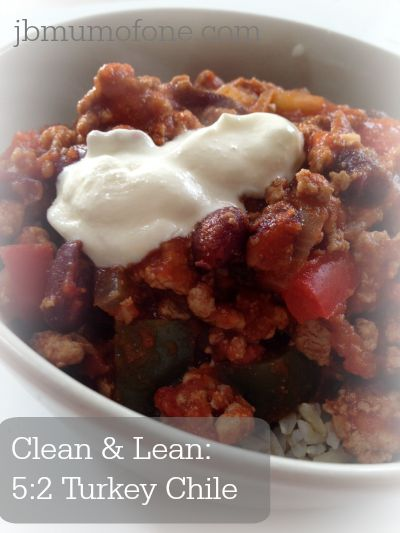Clean and Lean Turkey Chile.  Perfect for those trying to eat clean, get fit or following the 5:2 diet plan.