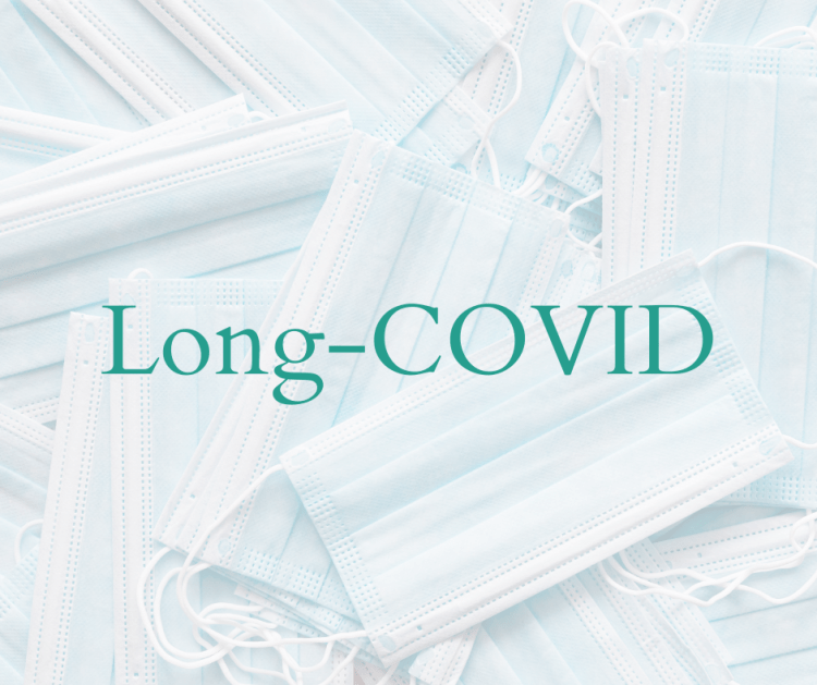 Long-COVID written over a background of disposable face masks