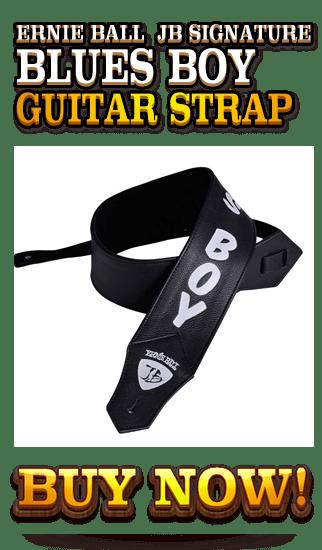 Black Leather - Ernie Ball JB Signature Blues Boy Guitar Strap