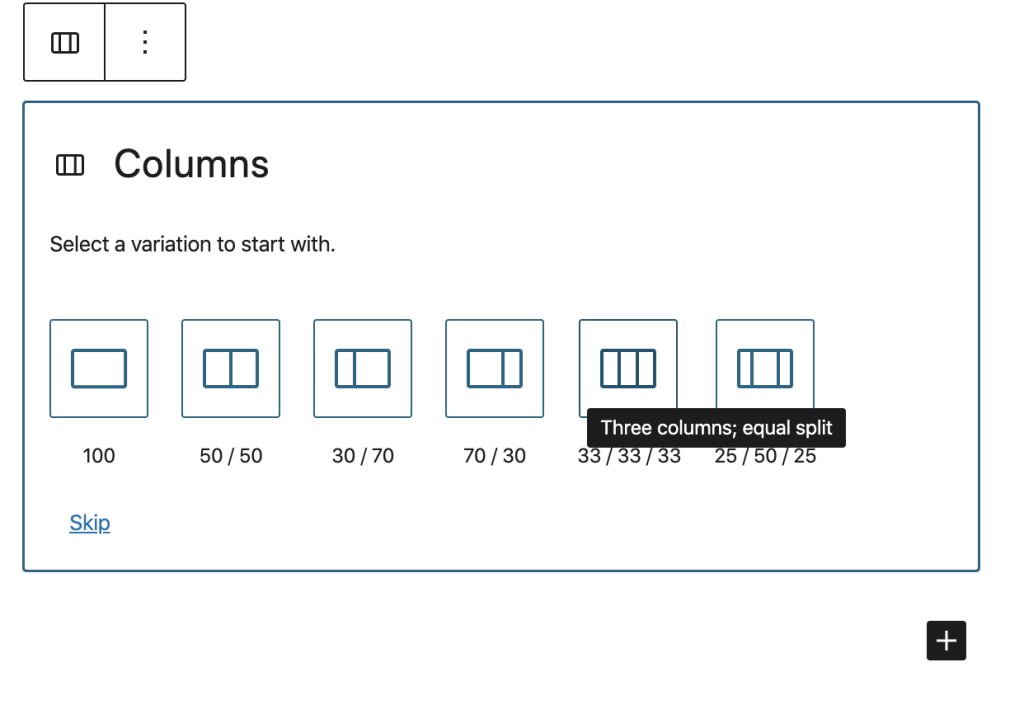 Graphic showing column options