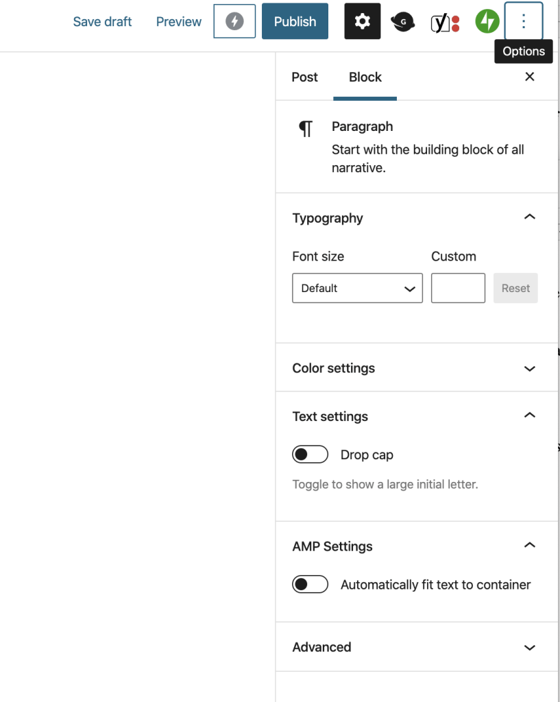 Graphic showing WP Editor's Options switcher