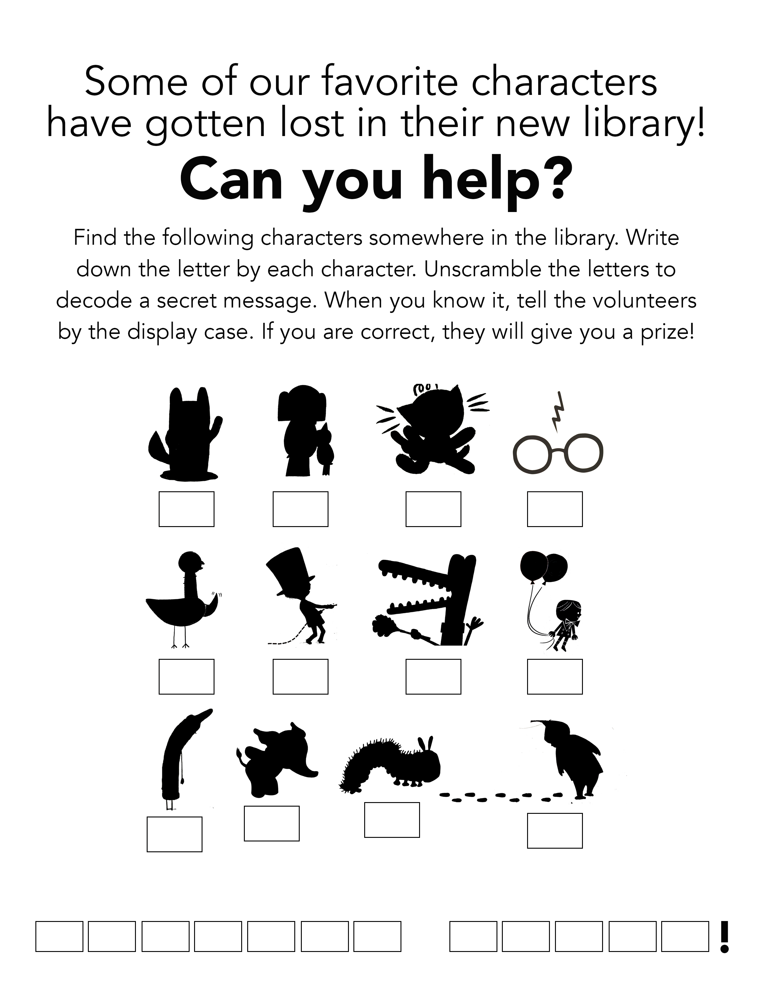 Book Character Silhouette Scavenger Hunt