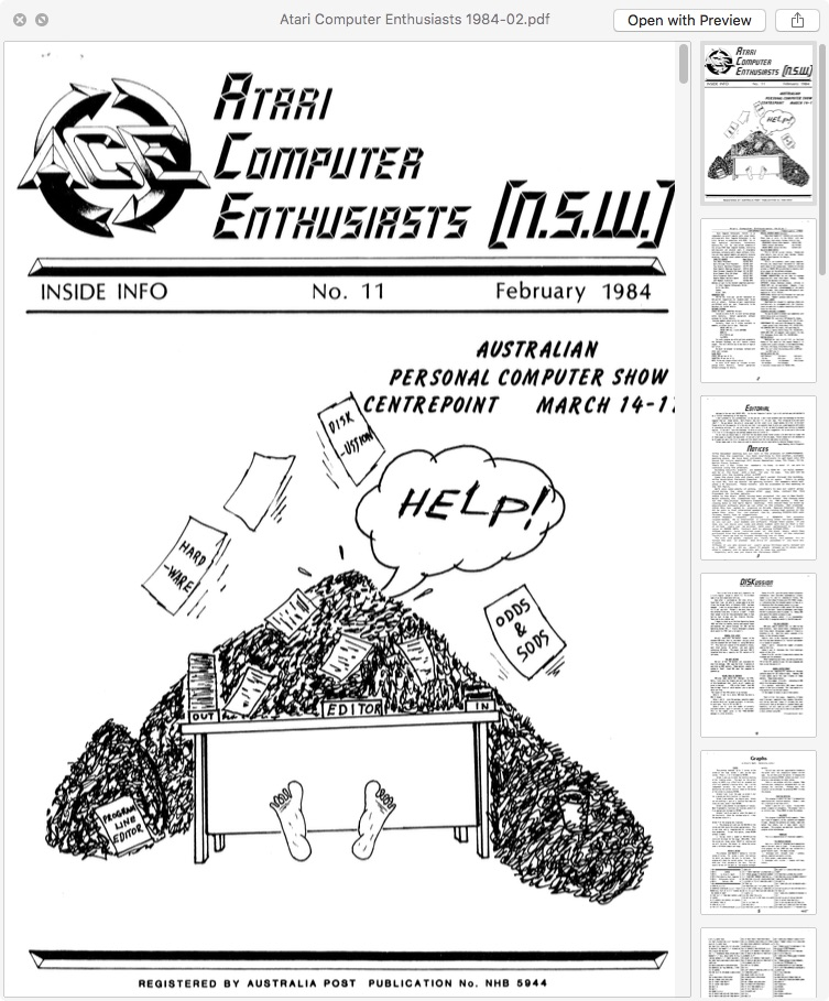Atari Computer Enthusiasts 'Inside Info' Newsletter, New