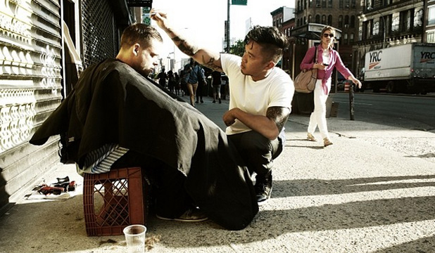 STREET STYLING: Mark Bustos spends every Sunday cutting hair for homeless people on the streets of New York City.