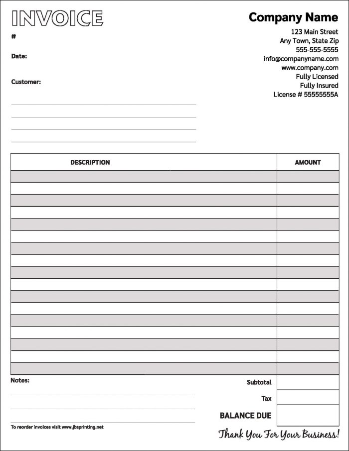 Carbonless Invoices