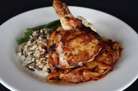 Pan Roasted Range Chicken, Orzo Pasta, and Fresh Green Beans.