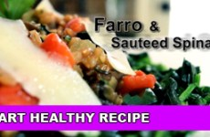 farro and sauteed spinach
