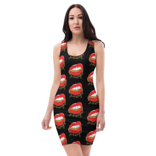 robe moulante noire red lips